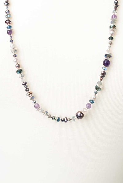 "Shimmer 31.5-33.5"" Simple Gemstone Collage Necklace"