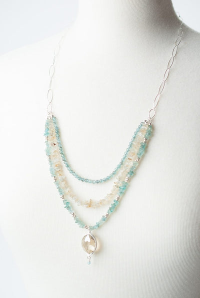 "Summer Rain 25.5-27.5"" Crystal Herringbone Pendant Multistrand Necklace"
