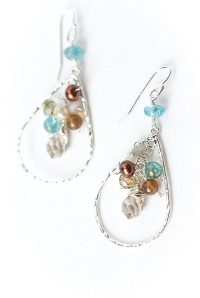 Summer Rain Hoop Cluster Earrings