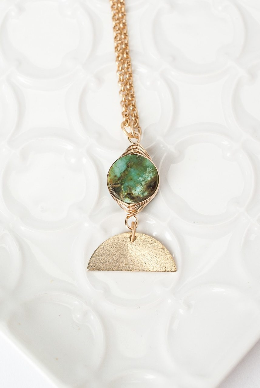 "Tranquil Gardens 17-19"" African Turquoise Herringbone Focal Necklace"