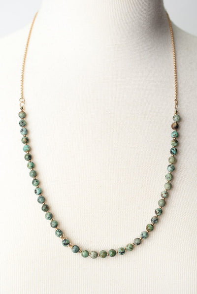 "Tranquil Gardens 26.5-28.5"" Simple African Turquoise Layer Necklace"