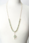 "*La Tierra 30-32"" Faceted Aquamarine Herringbone Focal Necklace"