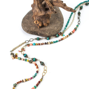 """Tumbleweed 37.75-39.75"""" Turqoise, Coral, Shell Collage Necklace"""