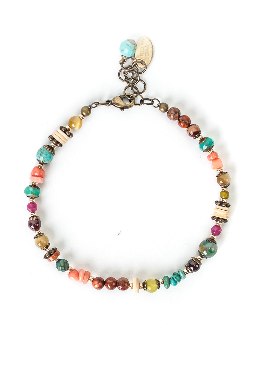 "Tumbleweed 7.5-8.5"" Turqoise, Coral, Shell Simple Bracelet"