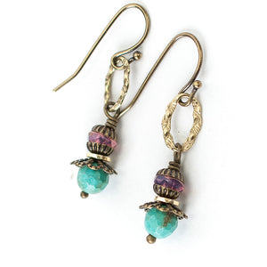 Tumbleweed Turquoise, Crystal Dangle Earrings
