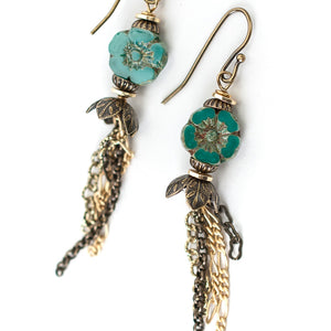 Tumbleweed Czech Glass Dangle Tassel Earrings