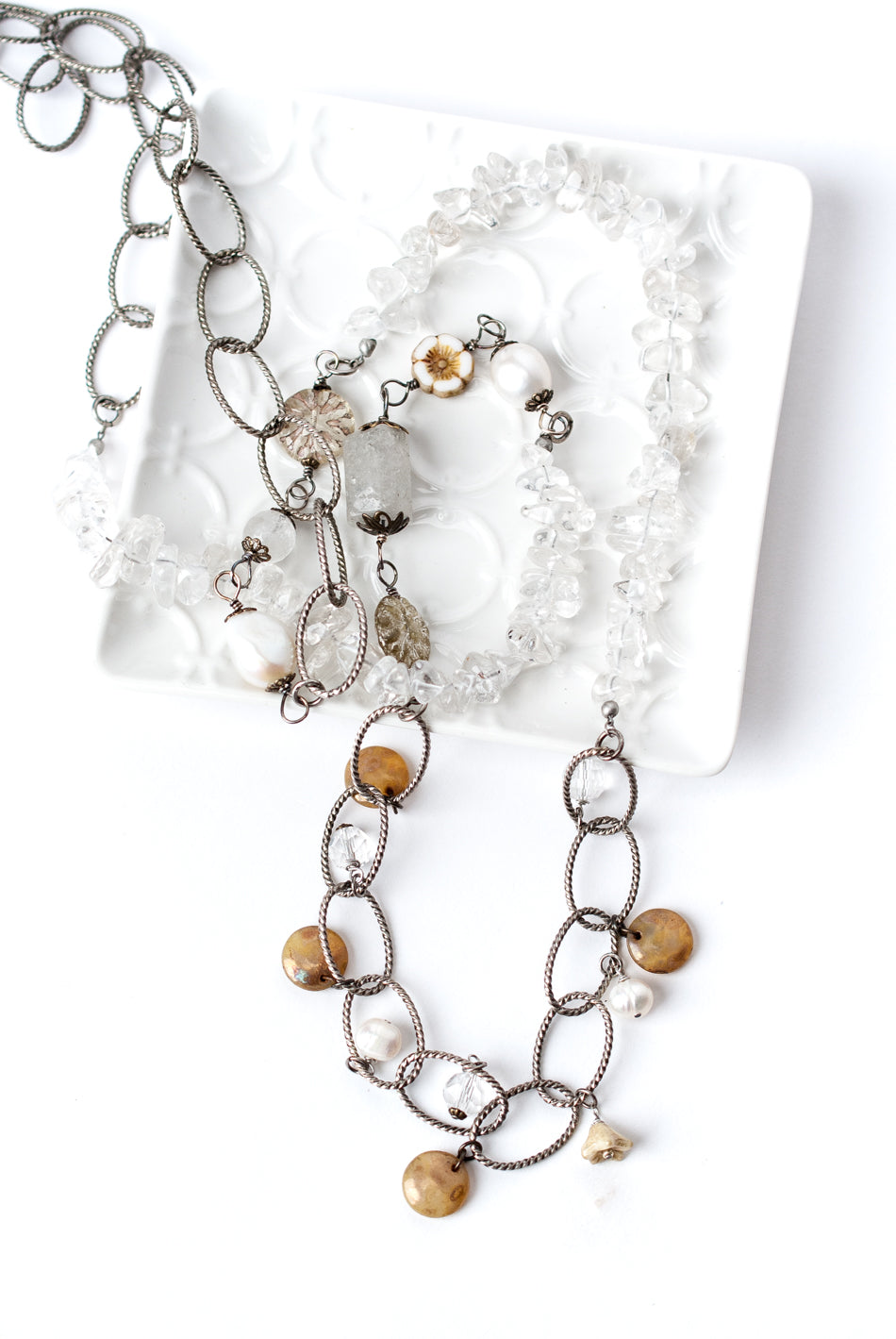 "*Tundra 45"" Quartz Collage Necklace"