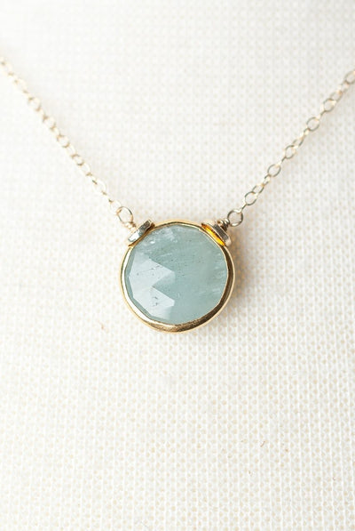 "La Tierra 16-18"" Aquamarine Bezel Focal Necklace"