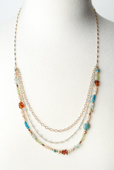 "La Tierra 25-27"" Gemstone Multistrand Collage Necklace"