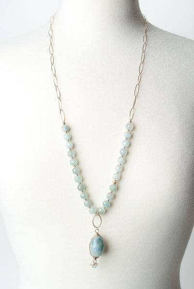 "La Tierra 30-32"" Aquamarine Herringbone Focal Necklace"