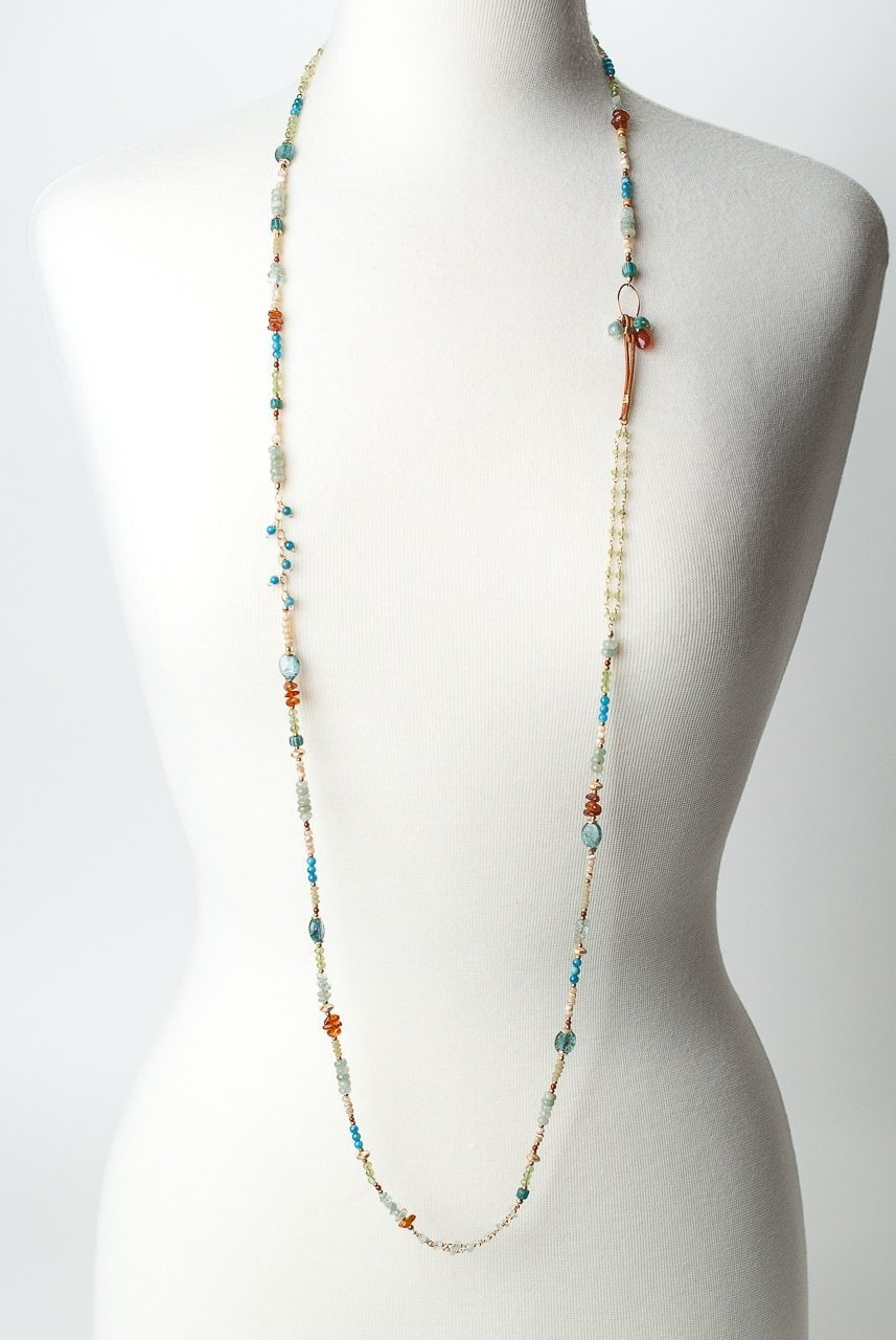 "La Tierra 48-50"" Long Gemstone Collage Layer Necklace"