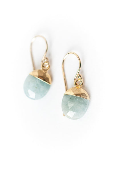 La Tierra Simple Gold Aquamarine Earrings