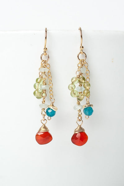 La Tierra  Gold Carnelian Cluster Tassel Earrings