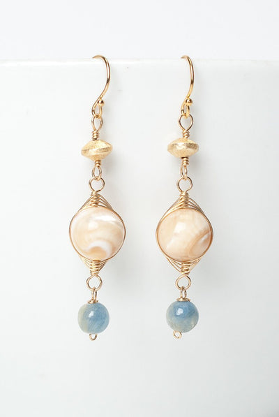 La Tierra Shell Herringbone Dangle Earrings