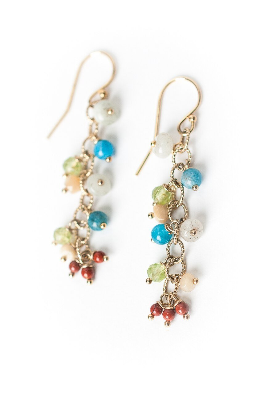 La Tierra Gemstone Cluster Dangle Earrings