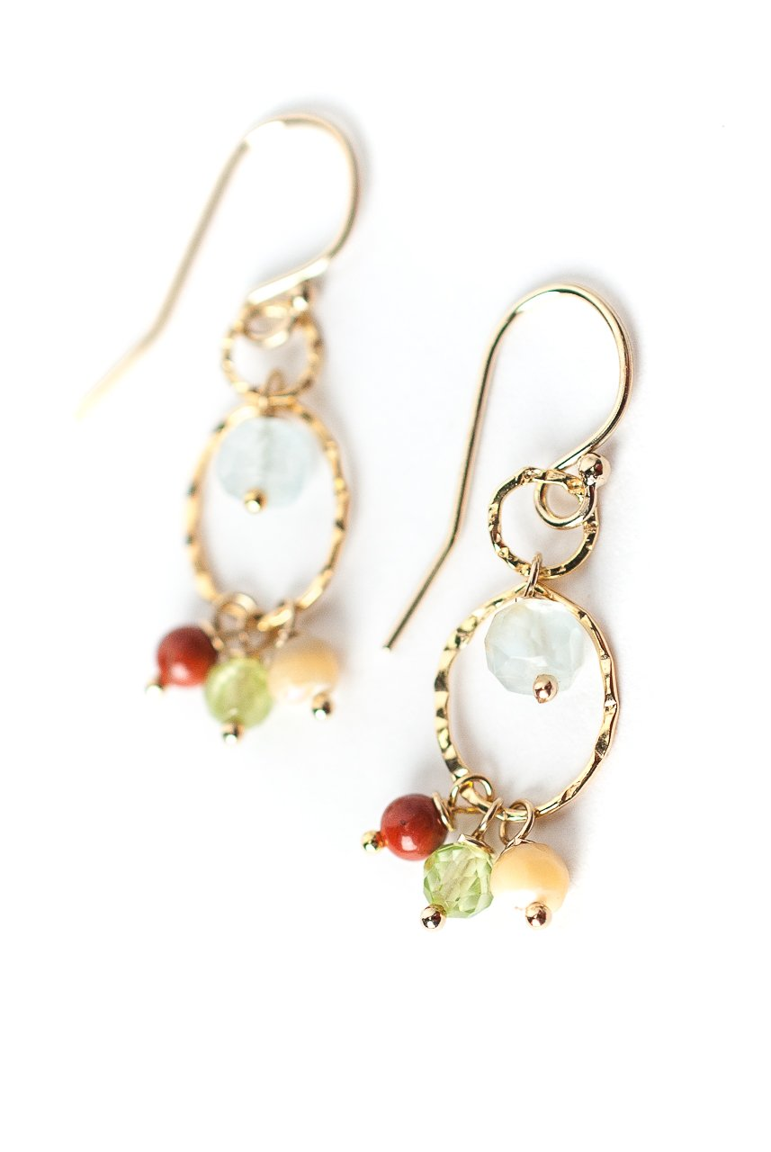 *La Tierra Gemstone Cluster Double Hoop Earrings