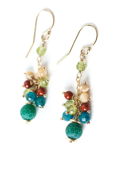 La Tierra Crackled Agate Cluster Dangle Earrings