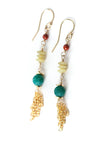 La Tierra Crackled Agate Tassel Dangle Earrings