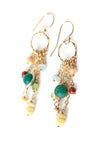 La Tierra Gemstone Tassel Gold Hoop Earrings