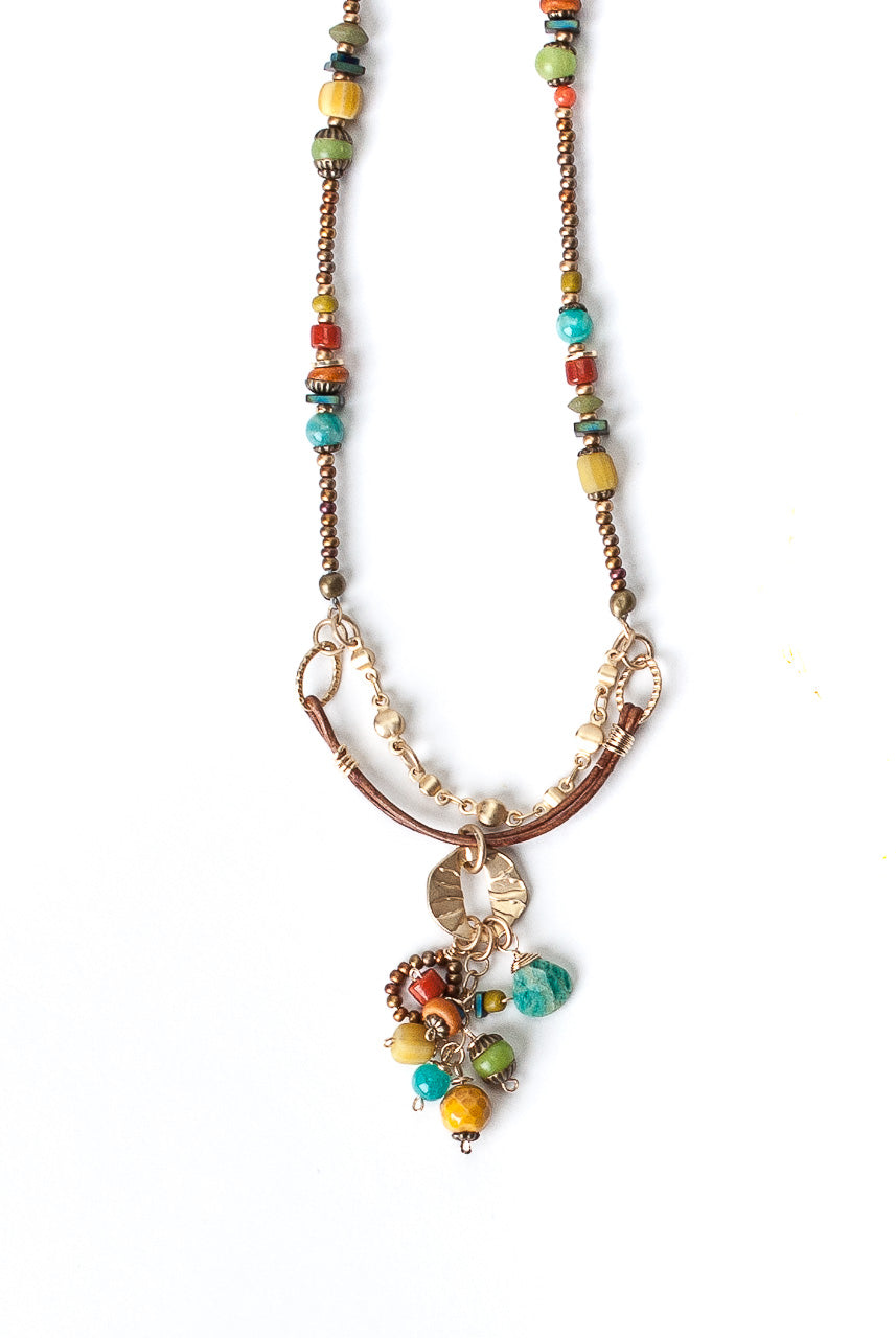 "Limited Edition 18.5-20.5"" Coral, Jasper, Turquoise Collage Cluster Necklace"