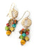 Limited Edition Coral, Jasper, Czech Glass Cluster Earrings