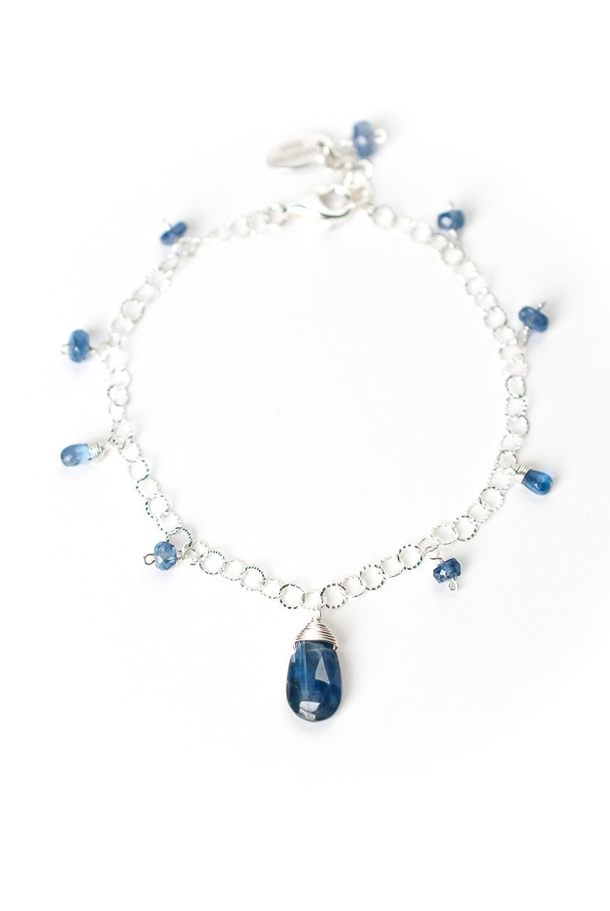 "Truth 7.5-8.5"" Simple Silver Kyanite Bracelet"