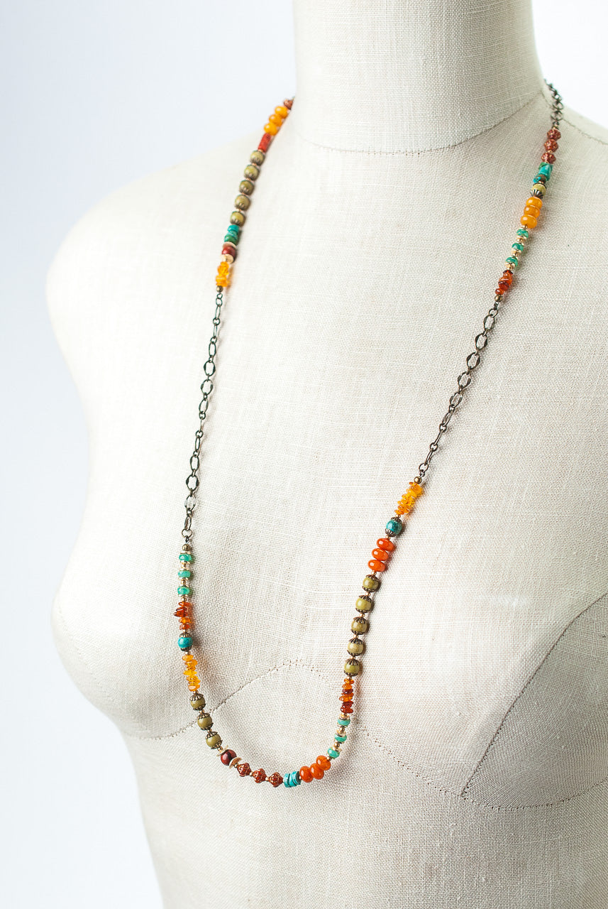 "Limited Edition 33-35"" Coral, Jasper, Turquoise Collage Necklace"