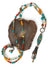 "Limited Edition 36.5-38.5"" Coral, Amber, Turquoise Collage Focal Necklace"