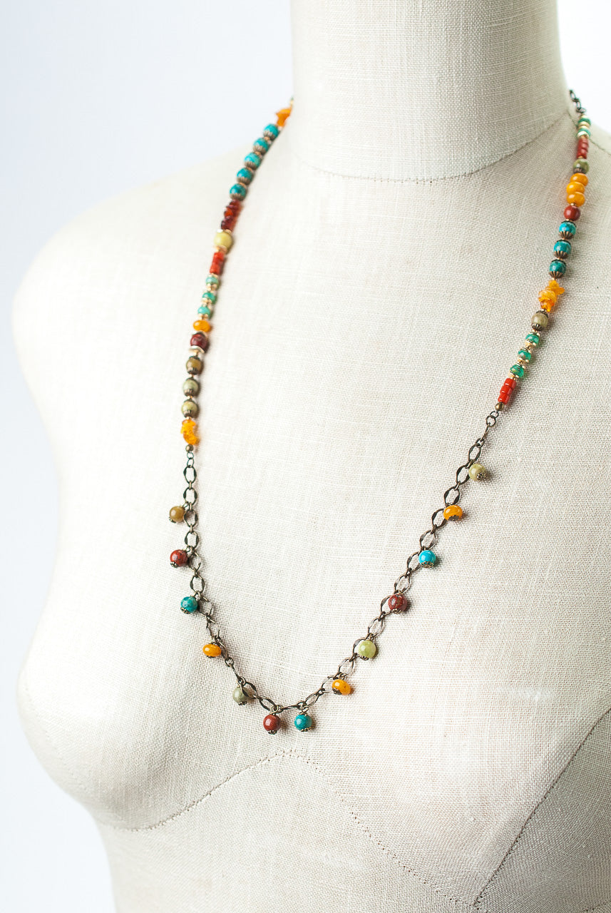 "Limited Edition 28-30"" Coral, Jasper, Turquoise Collage Necklace"