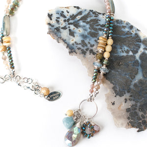 """Vision 17-19"""" Moonstone, Shell, Crystal Collage Cluster Necklace"""