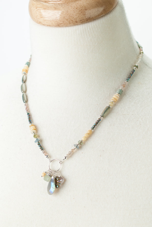 "*Vision 17-19"" Moonstone, Shell, Crystal Collage Cluster Necklace 1"