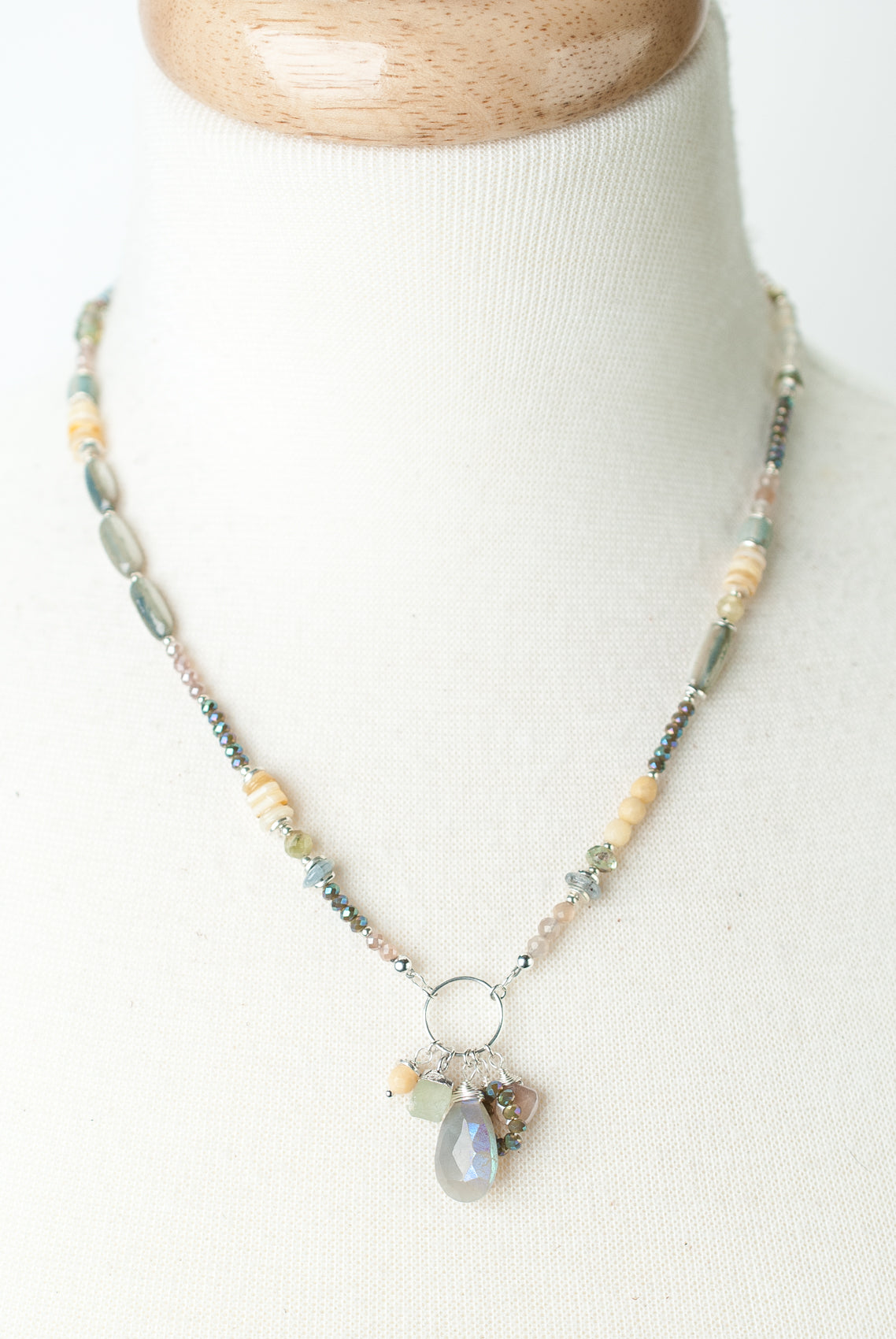 "Vision 17-19"" Moonstone, Shell, Crystal Collage Cluster Necklace"