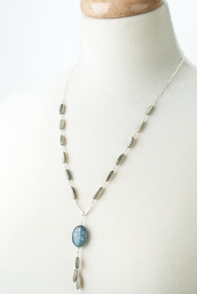 "Vision 23.5-25.5"" Shell, Kyanite Focal Tassel Necklace"