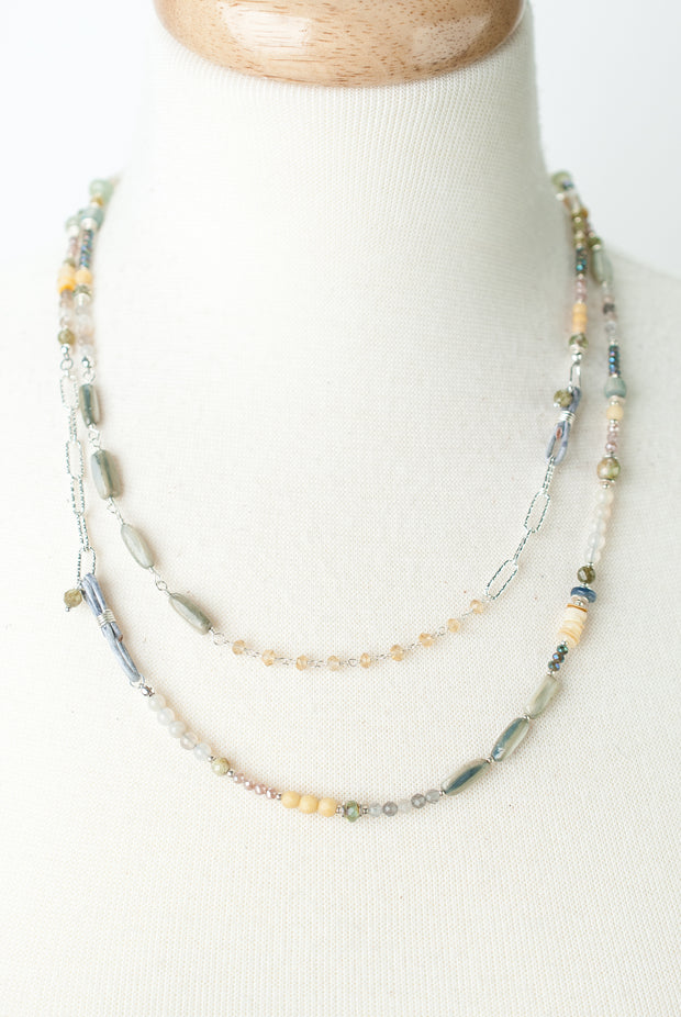 """*Vision 44-46"""" Yellow Jade, Shell, Moonstone Collage Necklace 1"""
