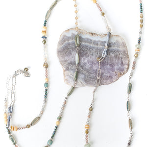 """Vision 44-46"""" Yellow Jade, Shell, Moonstone Collage Necklace"""
