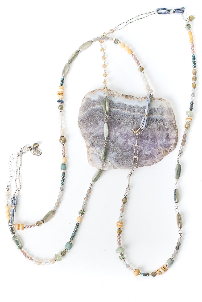 "Vision 44-46"" Yellow Jade, Shell, Moonstone Collage Necklace"