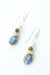 Vision Shell, Green Garnet, Kyanite Dangle Earrings