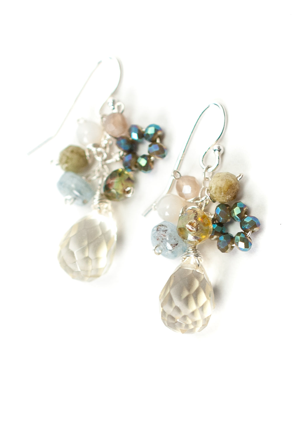 Vision Agate, Green Garnet, Citrine Cluster Earrings