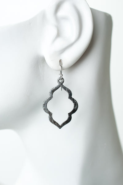 Windsor Castle Gunmetal Quatrefoil Earrings