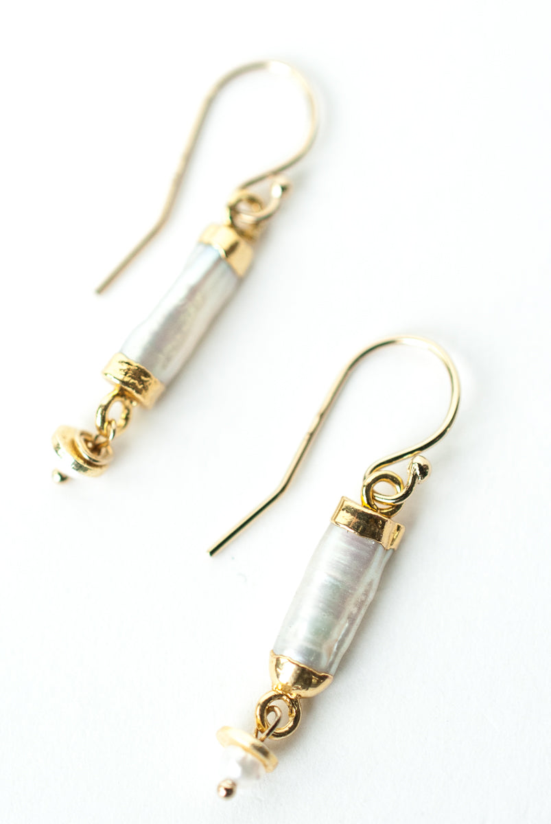 *Wisdom Freshwater Cylinder Pearl Dangle Earrings