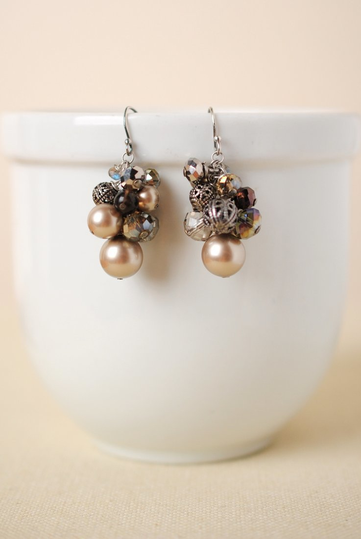 Windsor Castle Pearl Cluster Earrings
