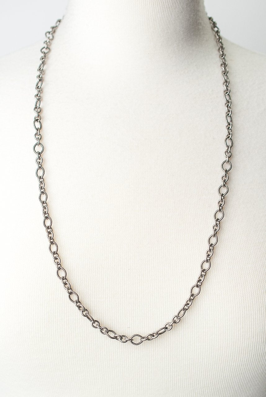 "Windsor Castle 30-32"" Simlple Antique Silver Layer Necklace"