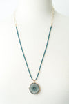 "Limited Edition 27-29"" Aqua Quartz, Agate Druzi Slice Focal Necklace No. 2"