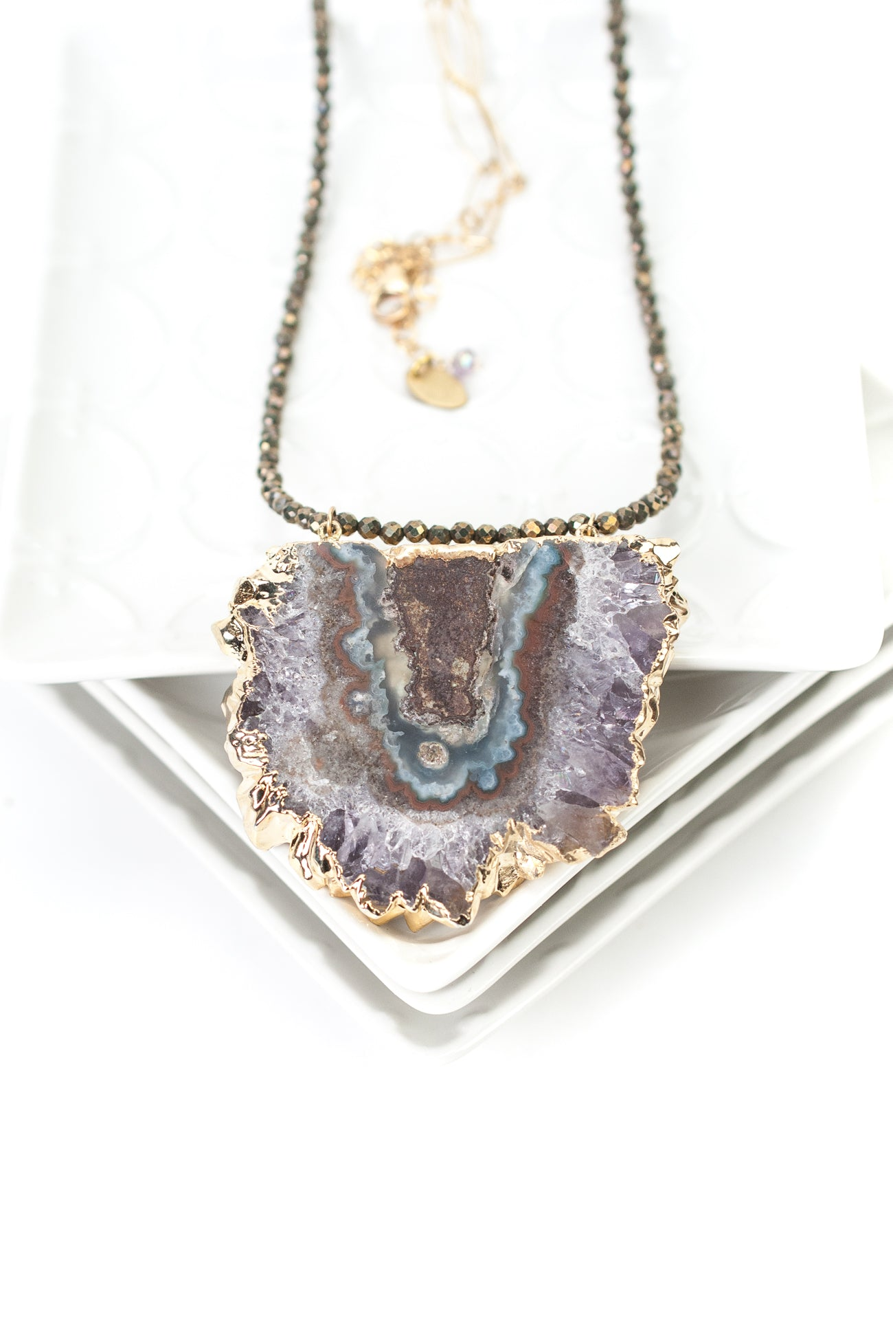 "*One of a Kind 32-34"" Pyrite and Mineral Slice Focal Necklace"