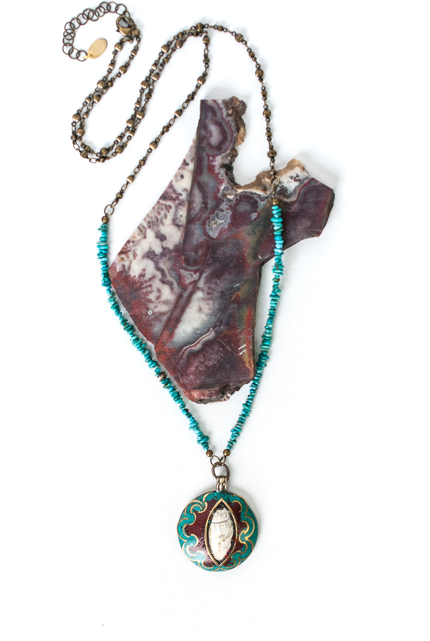 "Limited Edition 29-31"" Turquoise, Double Sided Tibetan Focal Necklace"