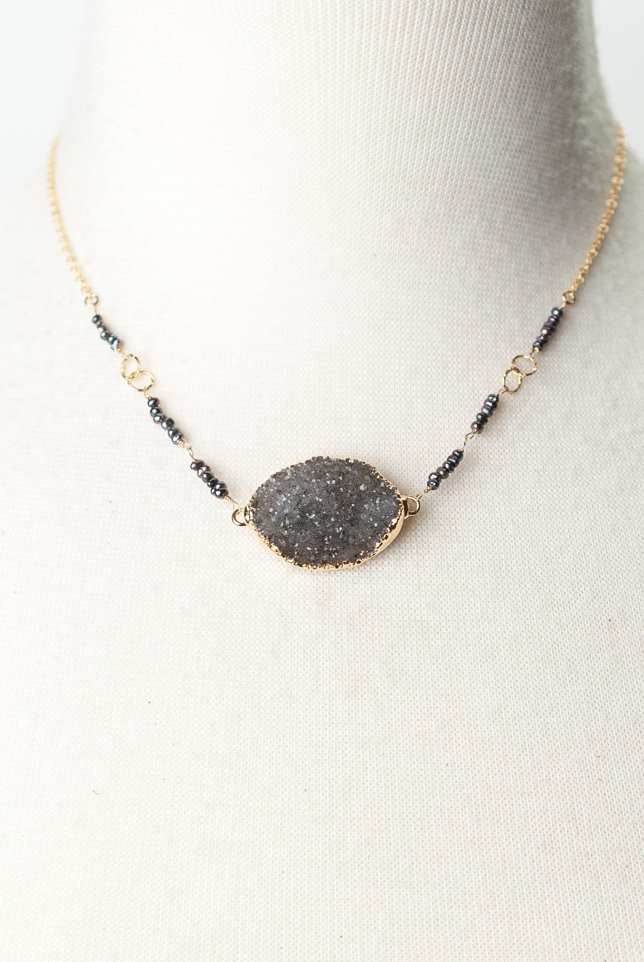 "One of a Kind 16-18"" Fresh Water Pearl, Druzy Necklace"