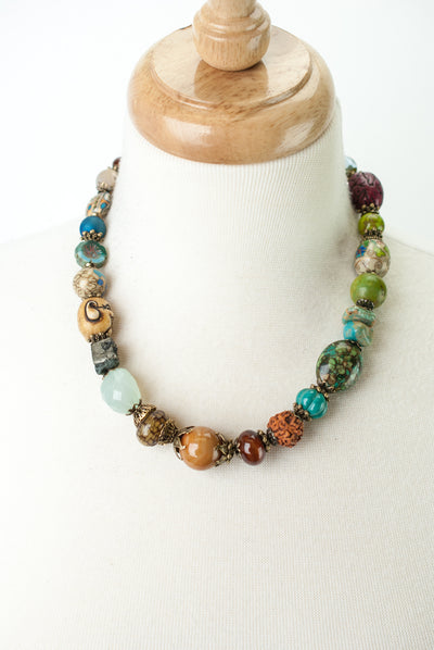 "One of a Kind 19-21"" Chalcedony, Czech Glass, Turquoise Collage Necklace"