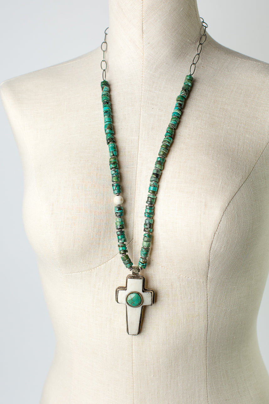 "One of a Kind 30.5-32.5"" Turquoise, Bone Cross Focal Necklace"