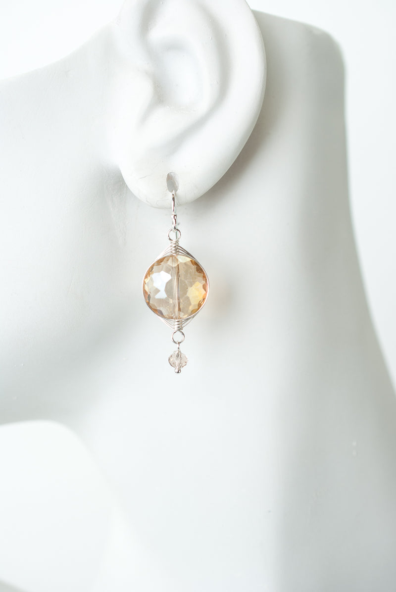 Herringbone Citrus Crystal Earrings