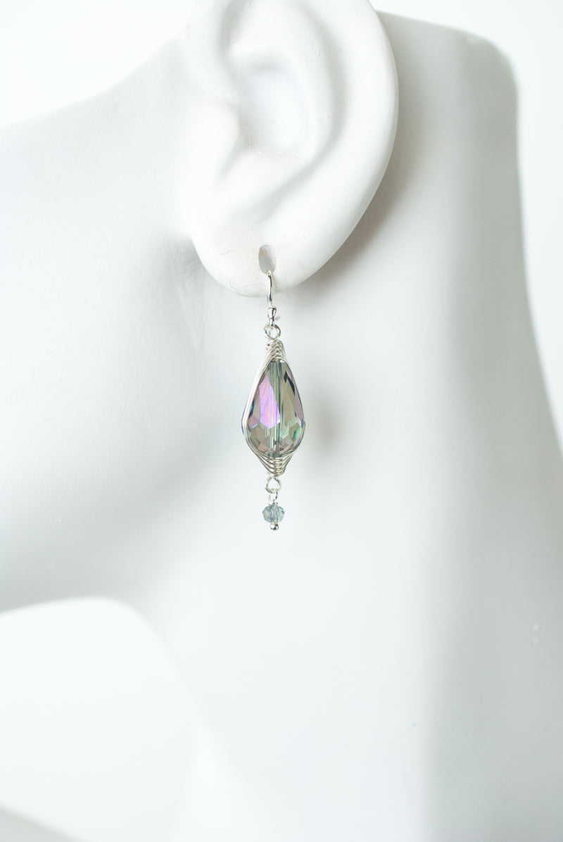 Herringbone Blue Green Crystal Teardrop Earrings